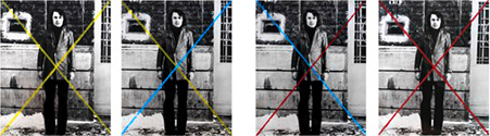 WASKO © Selfportrait with Yellow, Blue & Red, 1975, chalk on b-w photography